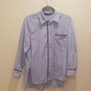 Striped button down long sleeve shirt